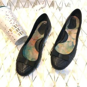 Born Quilted Black Leather Comfort Flat